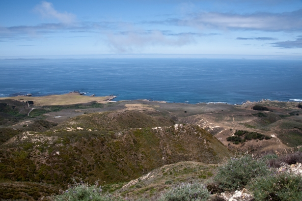 The Pacific Ocean coastline as seen from Valencia Peak trail in